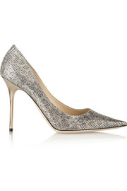Abel glitter-finished satin pumps