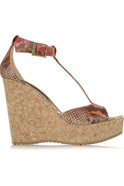 Pela snake-effect leather wedge sandals