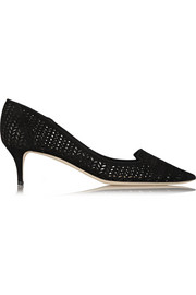 Allure perforated suede pumps