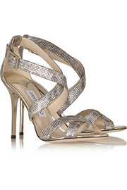 Jimmy Choo Lottie glitter-finished textured-lamé sandals
