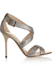 Lottie glitter-finished textured-lamé sandals