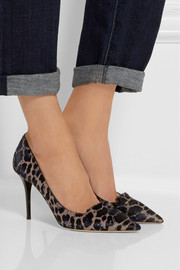Jimmy Choo Alia leopard-print calf hair pumps