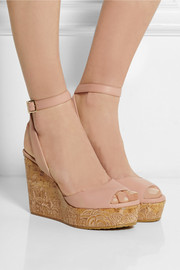 Jimmy Choo Philo embroidered leather wedge sandals