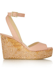 Philo embroidered leather wedge sandals