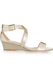 Chiara croc-effect metallic leather wedge sandals