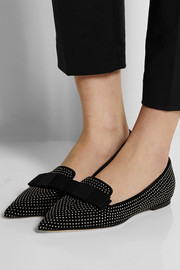 Gala studded suede point-toe flats