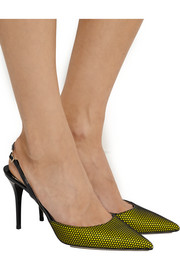 Jimmy Choo Tilly honeycomb-mesh and patent-leather pumps