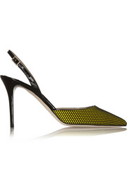 Tilly honeycomb-mesh and patent-leather pumps