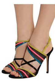 Visby mesh, suede, patent-leather and elaphe sandals