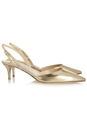 Jimmy Choo Tide mirrored-leather slingback pumps