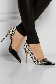 Holt snake-effect leather and patent-leather pumps