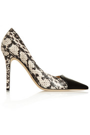 Jimmy Choo Holt snake-effect leather and patent-leather pumps