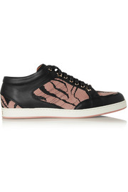 Jimmy Choo Miami glitter-finished canvas and suede sneakers