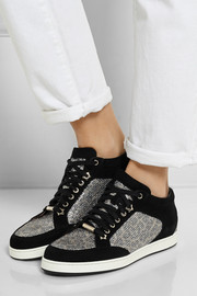 Miami glittered leopard-print mesh and suede sneakers