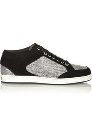 Jimmy Choo Miami glittered leopard-print mesh and suede sneakers