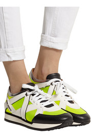 London neon mesh and leather sneakers