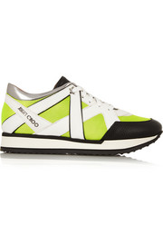 Jimmy Choo London neon mesh and leather sneakers