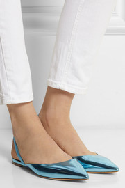 Jimmy Choo Genoa mirrored leather point-toe flats