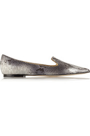 Gesso snake-effect leather point-toe flats