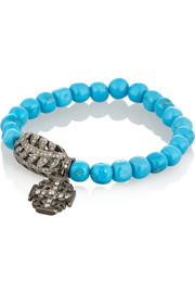 Loree Rodkin Turquoise, 18-karat rhodium white gold and diamond bracelet
