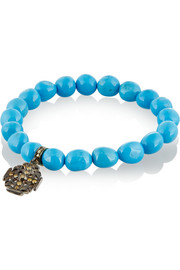 Loree Rodkin Turquoise, 18-karat rhodium gold and diamond bracelet