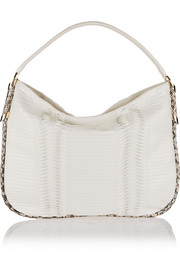 Zoe large elaphe-trimmed pleated leather shoulder bag