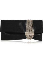 Chandra chain-embellished shimmer-suede clutch