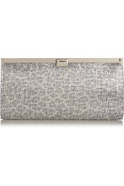 Jimmy Choo Camille glitter-finished satin clutch