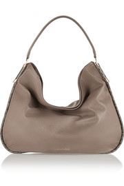 Zoe large elaphe-trimmed leather shoulder bag