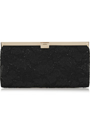 Camille glitter-finished satin-lace clutch