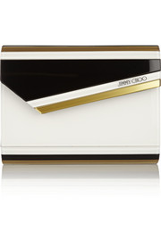 Jimmy Choo Candy paneled acrylic and leather clutch
