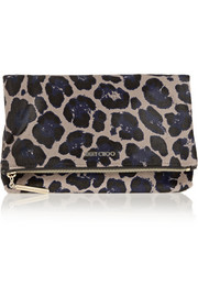 Jimmy Choo Nyla leopard-print calf hair clutch