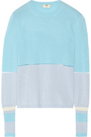 Color-block cashmere-blend sweater