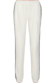 Silk-trimmed crepe track pants