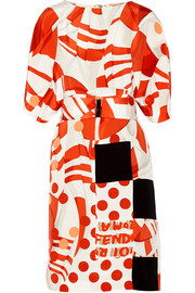 Printed silk-crepe dress
