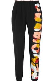 Fendi Appliquéd silk-crepe tapered pants