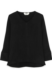 Split-sleeve silk-crepe top