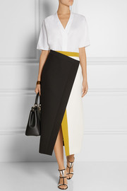 Color-block cotton-crepe wrap skirt