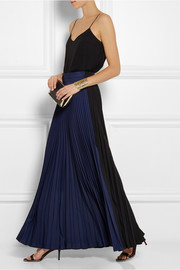 Fendi Two-tone pleated crepe maxi skirt