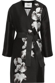 Orchid jacquard and tweed coat