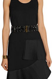 Marni Crystal-embellished leather and elastic waist belt
