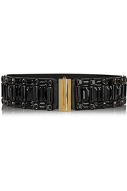 Crystal-embellished leather and elastic waist belt