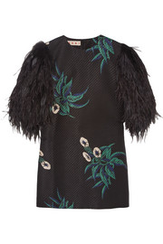 Feather-embellished basketweave cotton-blend mini dress