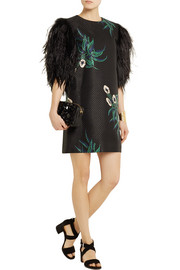 Marni Feather-embellished basketweave cotton-blend mini dress