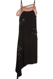 Asymmetric embellished crepe dress