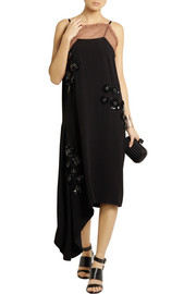 Marni Asymmetric embellished crepe dress