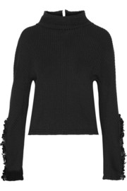 Embellished ribbed wool sweater