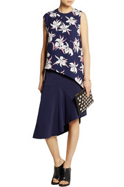 Marni Asymmetric stretch-cady skirt