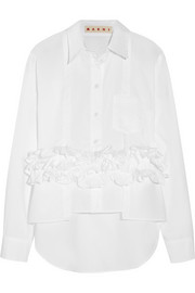 Ruffled cotton-poplin shirt