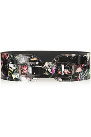 Floral-print patent-leather belt